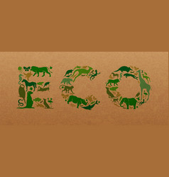 Green wild animal recycled paper eco sign concept vector