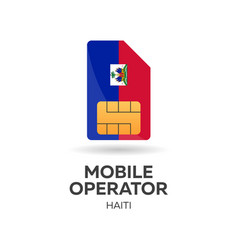 haiti mobile operator sim card with flag vector image