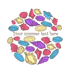 Hand drawn colorful background with seashells and vector
