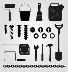 Hand tools set of icons vector