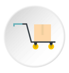 Hand truck with cardboard box icon circle vector