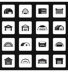Hangar icons set in simple style vector