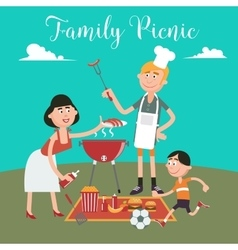 Happy Family Doing Barbecue on Picnic vector