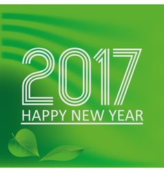 Happy new year 2017 on green abstract color vector