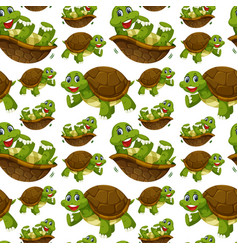 Happy turtle seamless wallpaper vector