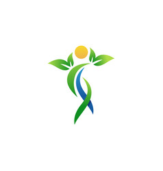 Health and wellness people logo symbol icon vector