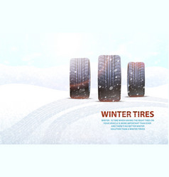 High quality winter tires commercial with slogan vector