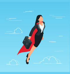 Iisometric business woman flies in the sky vector