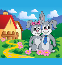 Image with rabbit theme 8 vector
