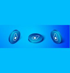 Isometric avocado fruit icon isolated on blue vector