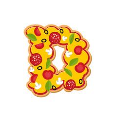 Letter d pizza font italian meal alphabet vector