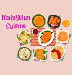 Malaysian cuisine exotic dishes icon design vector