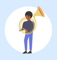 man tuba player african american musician playing vector image