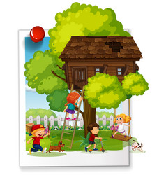 many kids playing at the treehouse vector image