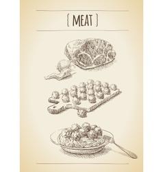 Meat sketch vector image vector image