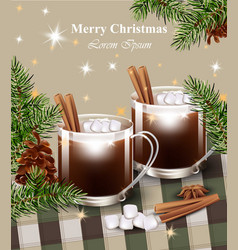 Merry christmas card with hot chocolate vector