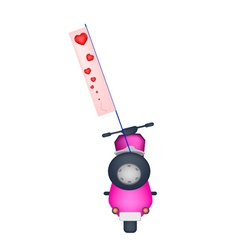 Motorbike with A Love Flag on White Background vector image