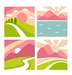 nature landscape flat icons templates for vector image