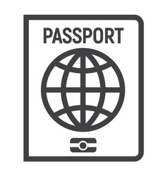 passport line icon travel and citizenship vector image