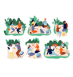 picnic people outdoor family happy group together vector image
