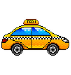 pixel taxi car detailed isolated vector image