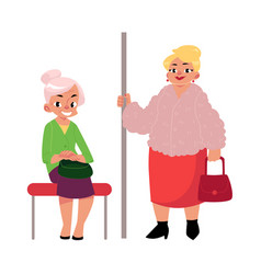 Plump middle age woman standing old lady sitting vector