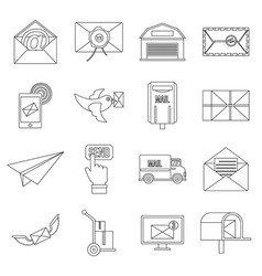 poste service icons set flat style vector image