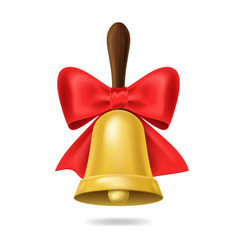 realistic 3d detailed school bell with red bow vector image