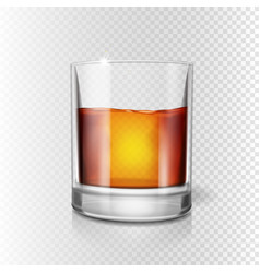 Scotch whiskey or rum brandy shot glass vector