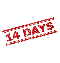 scratched textured 14 days stamp seal vector image
