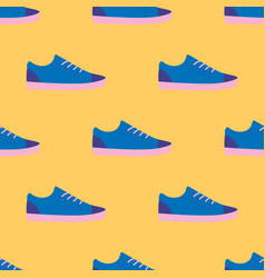 Seamless pattern with blue sneaker shoe vector