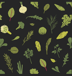 seamless pattern with green plants salad leaves vector image