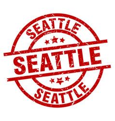 Seattle red round grunge stamp vector