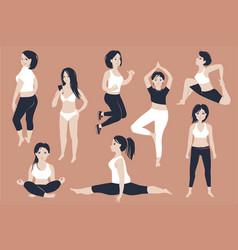 set beautiful fit girls vector image
