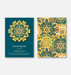 Set of cards flyers brochures mandala vector