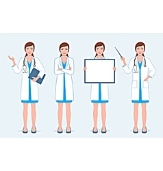 Set of four female doctors vector image