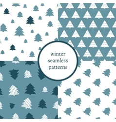 Set of simple retro Christmas patterns Winter vector image