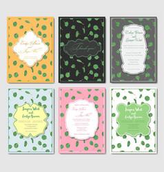 set six postcards with designer vintage frames vector image