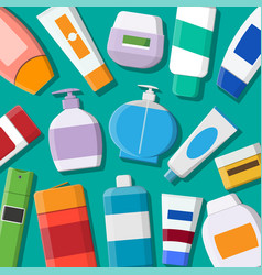 set various color cosmetic bottles vector image