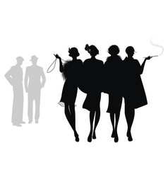 Silhouettes four flapper girls walking vector