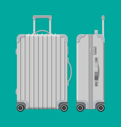 Silver travel bag plastic case trolley on wheels vector