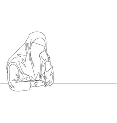 Single continuous line drawing young pretty vector