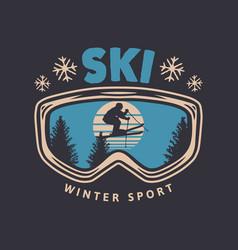 Ski winter sport vintage typography t shirt vector
