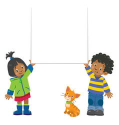 small boy and girl holding banner vector image