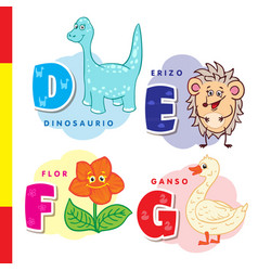 spanish alphabet dinosaur hedgehog flower vector image