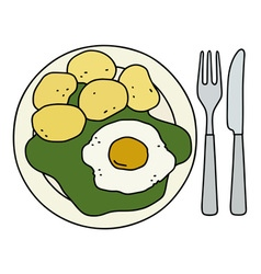 Spinach with potatoes vector