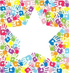 Star of the handprints of family vector