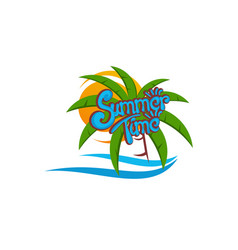 Summer background palm tree with ocean wave logo vector