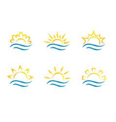 sunrise and sea cartoon logo temlates collection vector image