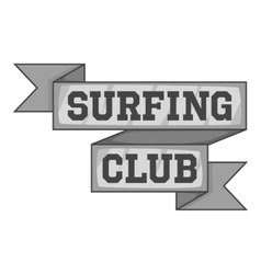 Surf club emblem icon gray monochrome style vector